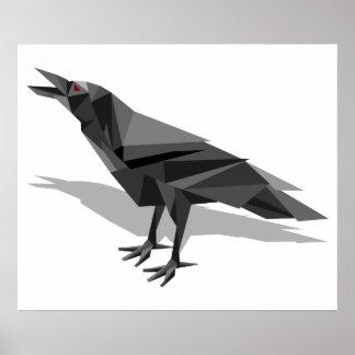 Poster Triangles grises cubistes géométriques de Raven