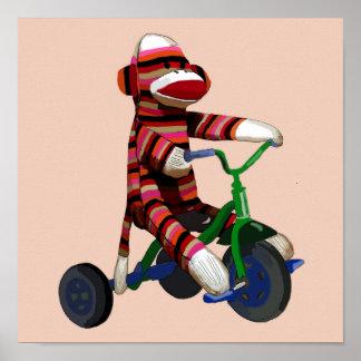 Poster Tricycle de singe de chaussette