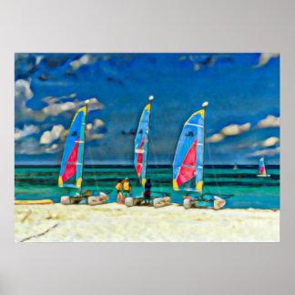 Poster Trois voiliers sur la plage, scène de plage
