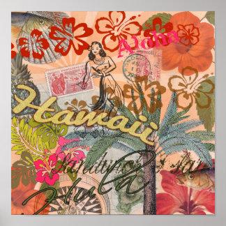 Poster Tropical hawaïen coloré de voyage vintage d'Hawaï