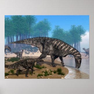 Poster Troupeau de dinosaures d'Iguanodon au rivage
