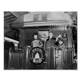 Poster Truman et Churchill soutiennent dessus d'un train