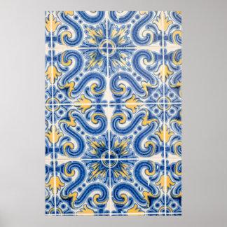 Poster Tuile bleue et jaune, Portugal