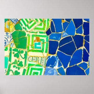 Poster Tuiles vertes de Parc Guell de mosaïque à