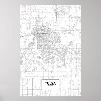 Poster Tulsa, l'Oklahoma (noir sur le blanc)
