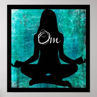 Poster Turquoise de l'OM et courrier méditant de yoga de