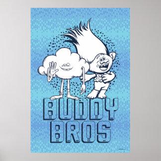Poster Type de nuage des trolls   et branche - ami Bros