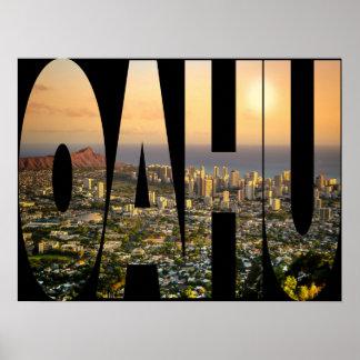 Poster Typographie de photo d'horizon d'Oahu Honolulu