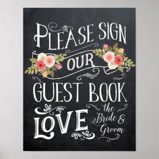 Poster typographie de signe de mariage de guestbook