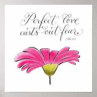 Poster Typographie inspirée d'amour de marguerite