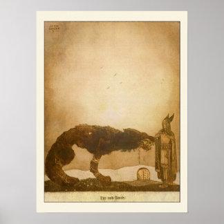 Poster Tyr et Fenrir par John Bauer