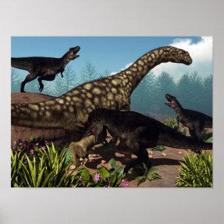 Poster Tyrannotitan attaquant un dinosaure