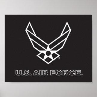 Poster U.S. Logo de l'Armée de l'Air - noir