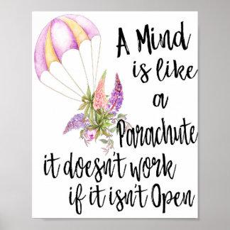Poster Un esprit est comme un parachute, il ne travaille