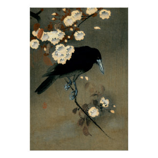 Poster Une corneille et une fleur par le cru d'Ohara