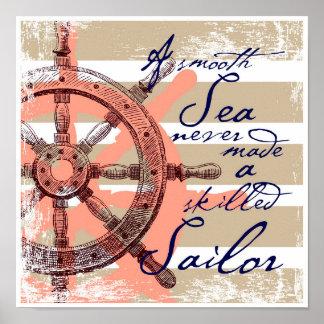 Poster Une mer lisse n'a jamais fait un marin qualifié