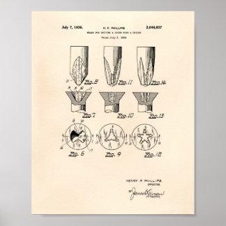 Poster Une vis avec un art vieux Peper de brevet du