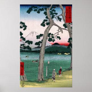 Poster Utagawa Hiroshige Fuji du côté gauche de route de