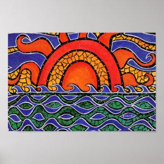 Poster Vagues colorées de plage de coucher du soleil
