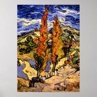 Poster Van Gogh - deux peupliers sur une colline - 1889