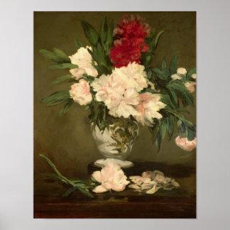 Poster Vase à Manet | de pivoines sur un petit piédestal,
