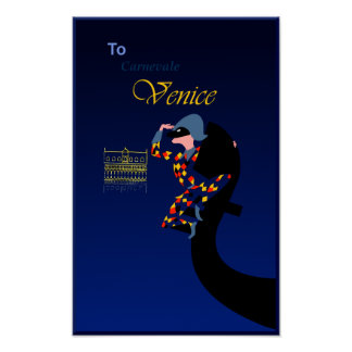 Poster Venise, affiche de voyage de carnaval