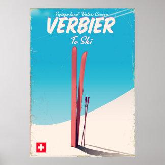 Poster Verbier, affiche vintage de voyage de ski de la