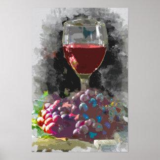 Poster Verre de vin et d'un monticule des raisins dans le