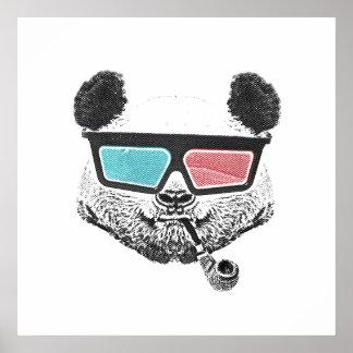 Poster Verres à trois dimensions de panda vintage