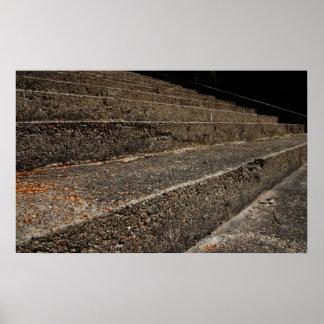Poster Vieille affiche en pierre d'escaliers