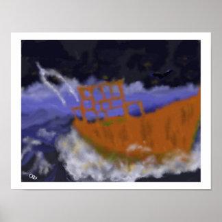 Poster Vieux bateau dans l'art de tempête