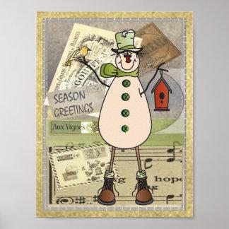 Poster Vieux bonhomme de neige d'affranchissement de vert