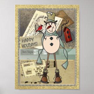Poster Vieux bonhomme de neige de bleu de mode
