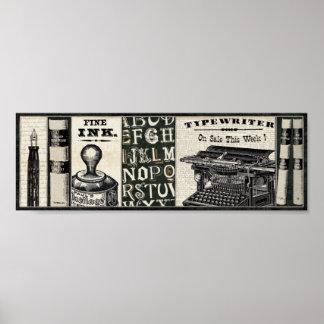 Poster Vieux instruments d'écriture