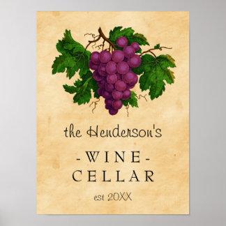 Poster Vignoble vintage | de raisins de cave personnalisé