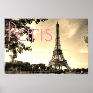 Poster Ville vintage d'amour de Paris de Tour Eiffel de