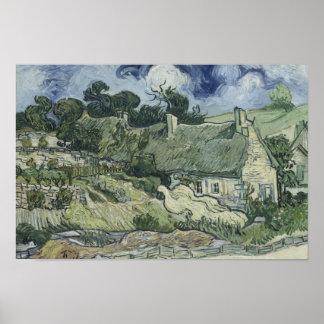 Poster Vincent van Gogh - cottages couverts de chaume