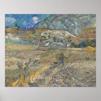 Poster Vincent van Gogh - paysage au Saint-Remy