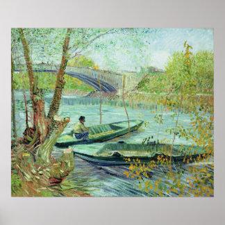 Poster Vincent van Gogh | pêchant au printemps