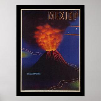 Poster vintage d'art déco de volcan du Mexique