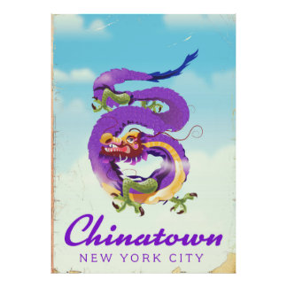 Poster vintage de Chinatown New York City