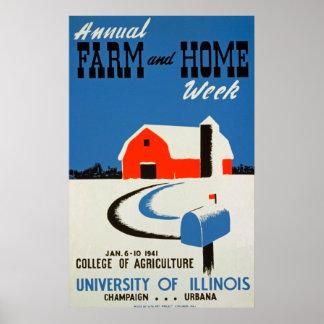 Poster vintage de ferme et à la maison annuel
