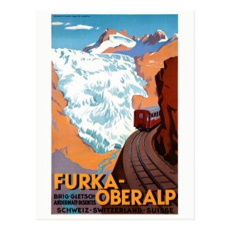 Poster vintage de la Suisse Furka Oberalp Carte Postale