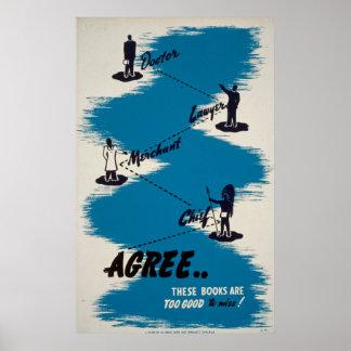 Poster vintage de livres