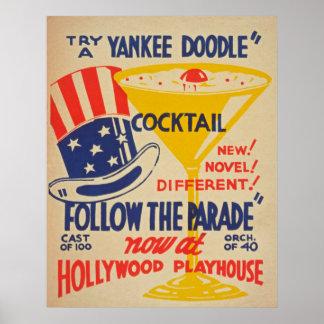 Poster vintage de maison de théâtre de Hollywood