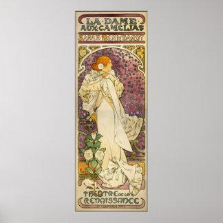 Poster vintage de Mucha : Dame Camélias aux. de La