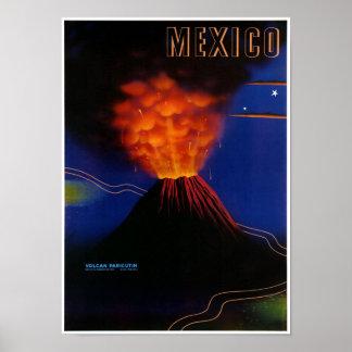 Poster vintage de Paricutin de volcan du Mexique