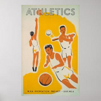 Poster vintage de récréation d'athlétisme