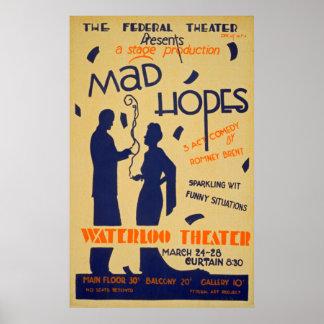 Poster vintage de représentation de comédie