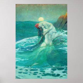 Poster vintage de sirène
